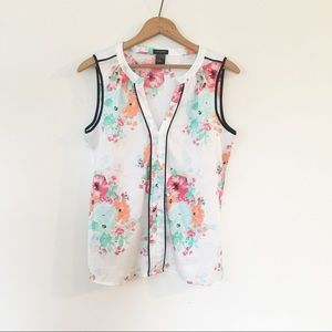 ANN TAYLOR | Floral Sheer Sleeveless Top